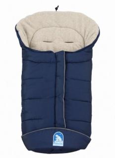 molliger Baby Winter Fleece Fußsack marineblau-sand, voll waschbar, für Kinderwagen, Buggy, ca. 98x47cm