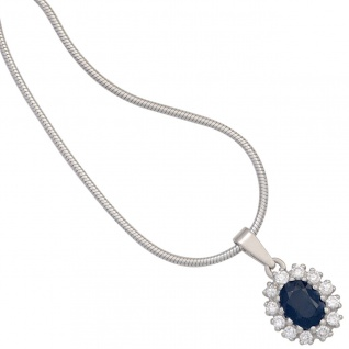Anhänger 925 Sterling Silber rhodiniert 12 Zirkonia 1 Safir blau