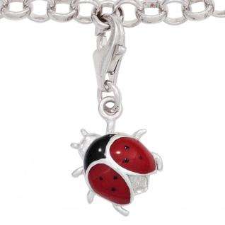 Einhänger Charm Marienkäfer 925 Sterling Silber rhodiniert rot schwarz lackiert