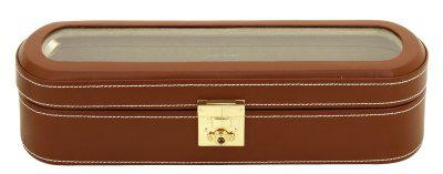 Friedrich Lederwaren exklusiver Damen Leder Uhrenkasten für 5 Uhren braun, Serie Cordoba, ca. 33x10, 7x8, 5 cm