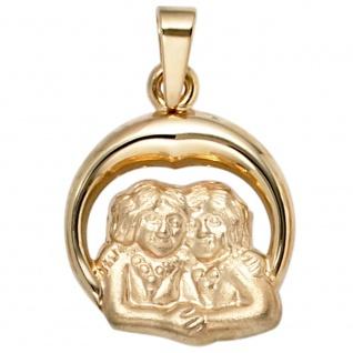 Anhänger Sternzeichen Zwilling 375 Gold Gelbgold matt Sternzeichenanhänger - Vorschau