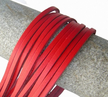 10 Stück Docksider Vierkant Rindleder Lederriemen rot, Länge 120 cm, Stärke c...