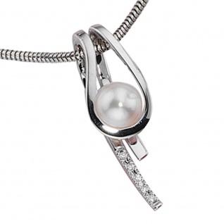 Anhänger 585 Gold Weißgold 1 Süßwasser Perle 5 Diamanten Perlenanhänger