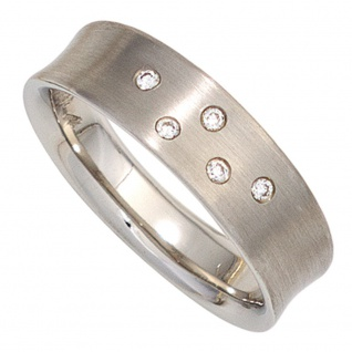 Damen Ring 950 Platin matt 5 Diamanten Brillanten 0, 06ct. Platinring