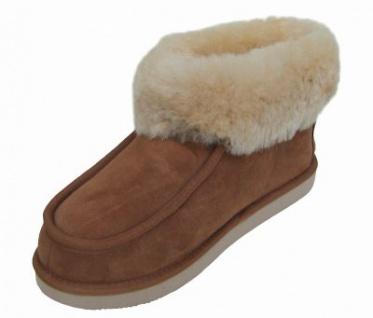 Chamier warme Damen Lammfell Haus Schuhe Paula camel mit Fellkragen, durchgehend nur Lammfell, Mikrogummisohle, Gr. 42