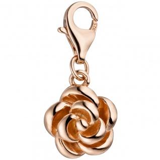 Einhänger Charm Rose 925 Silber rotgold vergoldet Anhänger für Bettelarmband