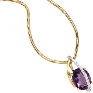Anhänger 585 Gold Gelbgold Weißgold 11 Diamanten Brillanten 1 Amethyst violett