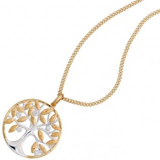 Anhänger Baum 585 Gold Gelbgold bicolor 5 Diamanten Brillanten Goldanhänger