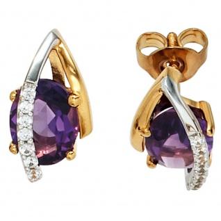 Ohrstecker 585 Gelbgold Weißgold 14 Diamanten 2 Amethyste lila violett Ohrringe