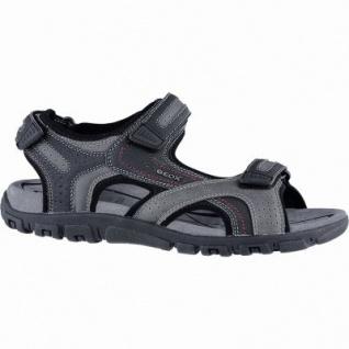 Geox modische Herren Synthetik Sandalen grey, Geox Leder Fußbett, atmungsaktive Laufsohle, 2440111/43
