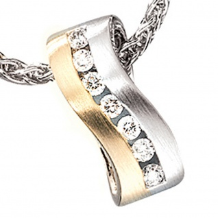 Anhänger 585 Gold Weißgold Gelbgold bicolor matt 7 Diamanten Brillanten