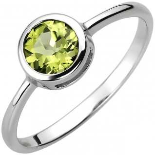 modischer Damen Ring 925er Sterling Silber mit grünem Peridot, Breite ca. 7, 3...