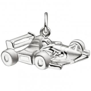 Anhänger Rennwagen 925 Sterling Silber matt mattiert Silberanhänger