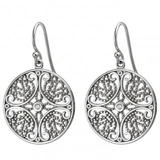 Damen Ohrhänger 925er Sterling Silber mit 2 Zirkonias, Gipsy Style, Silber Oh...