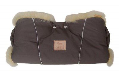 Universal Lammfell Kinderwagen Handwärmer grau, Neonstreifen, medizinisch gegerbt, ca. 48x52 cm, 30 mm geschoren, waschbar - Vorschau 2