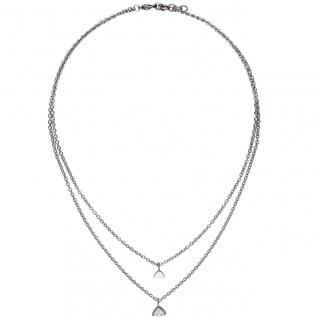 Collier Kette mit Anhänger Dreieck 2-reihig Edelstahl 3 Zirkonia 45 cm Halskette - Vorschau
