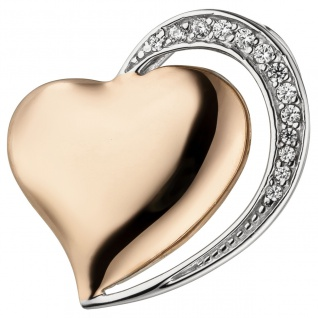 Anhänger Herz 925 Sterling Silber bicolor vergoldet 13 Zirkonia Herzanhänger