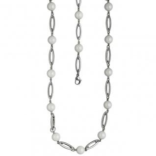 Collier Halskette Edelstahl mit Kugeln aus weißer Keramik 47 cm Kette