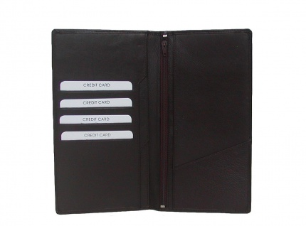 extra große Leder Brieftasche braun, 12 cm breit, 22 cm hoch, 4 x CC, 4 Einst...