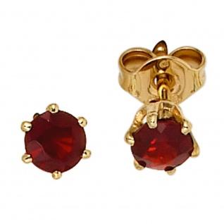 Ohrstecker rund 585 Gold Gelbgold 2 Granate rot Ohrringe Granatohrstecker