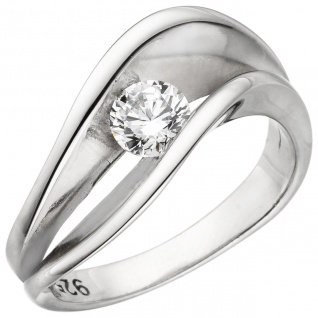 Damen Ring 925 Sterling Silber 1 Zirkonia Silberring