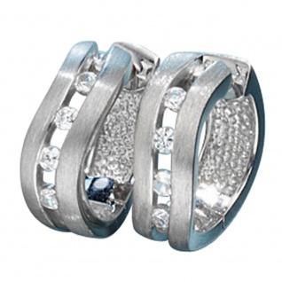 Creolen 925 Silber mattiert 8 Zirkonia Ohrringe Silberohrringe Silbercreolen