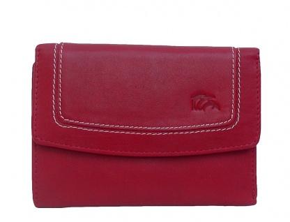 Dolphin handliche Damen Leder Geldbörse rot, 8xCC, 1 Scheinfach, viele Fächer...