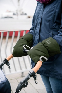 Heitmann Felle warmer Kinderwagen Handwärmer grün meliert, Innenfleece, Kinde...