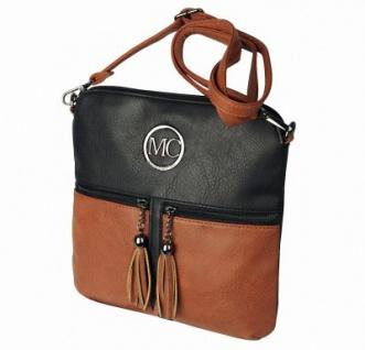 Marc Chantal coole Kunstleder Tasche schwarz/cognac, Body Bag, langer Trageriemen, ca. 26x26x3 cm