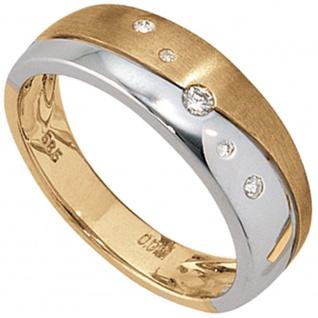 Damen Ring 585 Gold Gelbgold Weißgold bicolor matt 5 Diamanten Brillanten