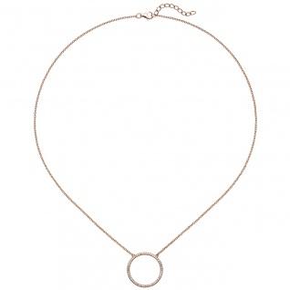 Collier Halskette 925 Silber rotgold vergoldet mit Zirkonia 45 cm Kette - Vorschau 3