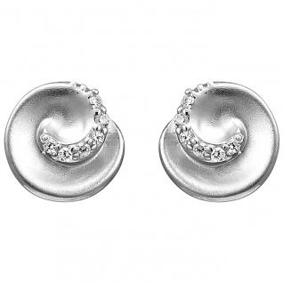 Ohrstecker 925 Sterling Silber matt 12 Zirkonia Ohrringe Silberohrringe