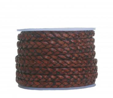 Rindleder Flechtband flach geflochten antikbraun, für Leder Armbänder, Lederketten, Länge 10 m, Breite ca. 4 mm, Stärke ca. 2 mm