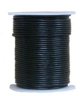 endlos Ziegenleder Rundlederriemen Rolle schwarz, für Lederschmuck, Lederarmbänder, Länge 100 m, Ø 0, 5 mm