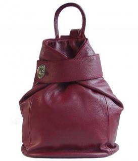 Eastline Damen Leder Rucksack rot, auch als Tasche nutzbar