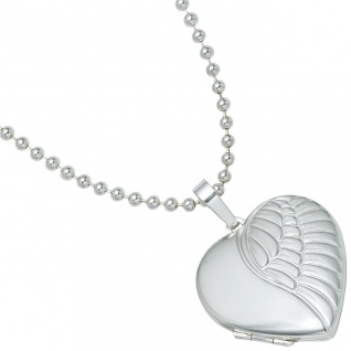 Medaillon Herz Flügel Engelsflügel 925 Silber matt Foto Anhänger zum Öffnen