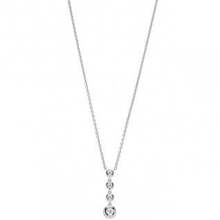 Collier Kette mit Anhänger 585 Gold Weißgold 4 Diamanten Brillanten 43 cm