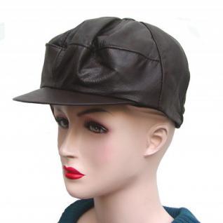 coole Damen, Herren Ziegenleder Ledermütze dunkelbraun, Lederkappe, Leder Cabriomütze, Größe XXL=56 cm