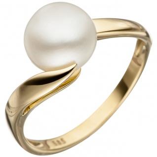Damen Ring 585 Gold Gelbgold 1 Süßwasser Perle Perlenring Goldring