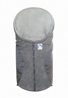 molliger Baby Winter Fleece Fußsack grau, für Tragschalen, Autositze, ca. 79x...