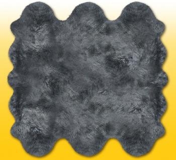 Fellteppiche grau gefärbt aus 6 Lammfellen, Größe ca. 185 x 180 cm, 30 Grad w...