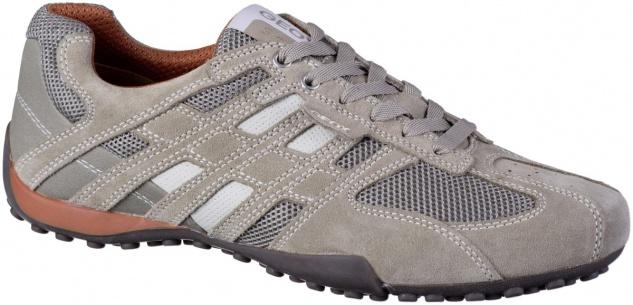 GEOX Herren Leder Sneakers beige, Meshfutter, atmungsaktive Geox Laufsohle