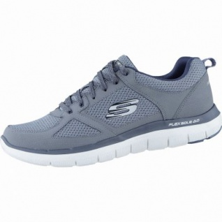 Skechers Flex Advantage 2.0 coole Herren Mesh Sneakers charcoal black, Air-Cooled-Memory-Foam-Fußbett, 4238176