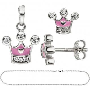 Kinder Mädchen Schmuck-Set Krone pink rosa 925 Silber Zirkonia mit Kette 38 cm - Vorschau 3