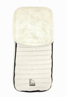 Baby Übergangs Stepp Fleece Fußsack für kühle Tage weiß waschbar, für Kinderwagen, Buggy, ca. 91x43 cm, 6 Gurtschlitze