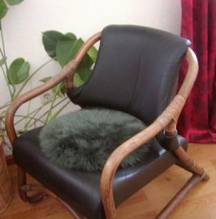 runde Sitzauflage aus australischen Lammfellen, Fellkissen dunkelgrün, Ø ca. 45 cm, waschbar, Haarlänge ca. 70 mm