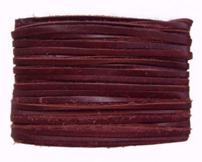 weiches Leder Flechtband Ziegenleder auf Karte weinrot, Länge 10 m, Breite ca. 2, 5 mm, Stärke ca. 1, 0 mm