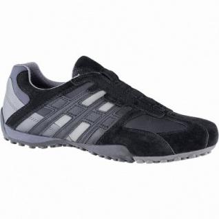 Geox sportliche Herren Leder Sneakers schwarz, Meshfutter, chromfrei, herausnehmbare Einlegesohle, 2041106/44
