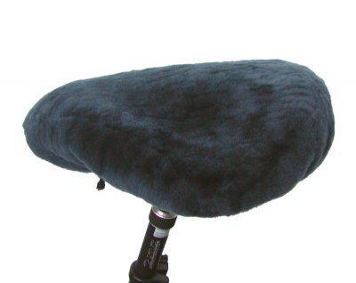 warmer Lammfell Fahrradsattelbezug anthrazit groß, 20 mm geschoren