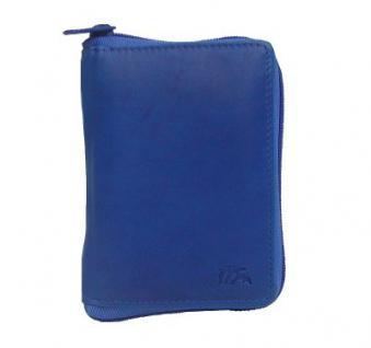 Dolphin praktische Damen Leder Reißverschluss Geldbörse royalblau, 2 x EK-Chip, 12xCC, viele Fächer, ca. 10x14 cm